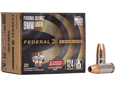 Federal Premium Personal Defense Ammunition 9mm Luger 124 Grain Hydra-Shok Jacketed Hol...