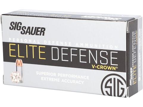 Sig Sauer Elite Performance Ammunition 9mm Luger 115 Grain V-Crown Jacketed Hollow Poin...