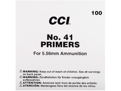 CCI Small Rifle 5.56mm NATO-Spec Military Primers #41 Box of 1000 (10 Trays of 100)