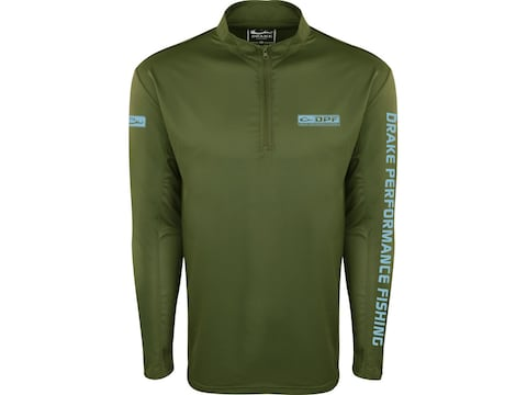Drake Men's Performance Fishing Mesh Back 1/4 Zip Long Sleeve Polyester