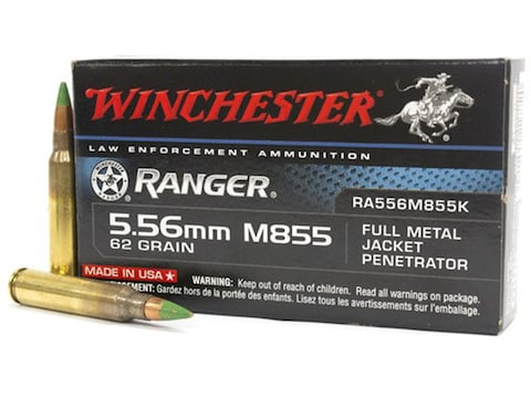 Winchester Ranger Law Enforcement Ammunition 5.56x45mm NATO 62 Grain M855 SS109 Penetra...