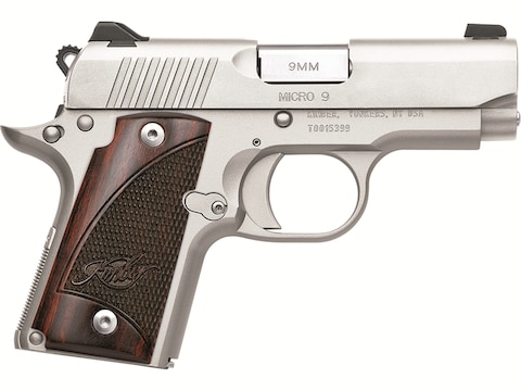 "Kimber Micro 9 Stainless Pistol 9mm Luger 3.15"" Barrel 7-Round Stainless Steel Rosewood"