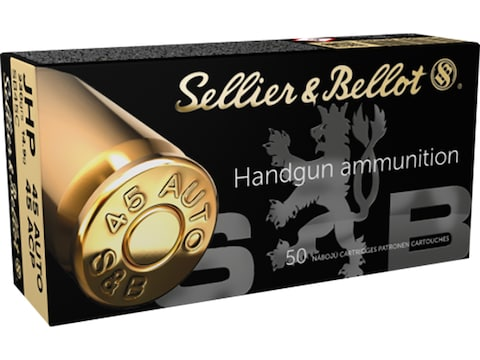 Sellier & Bellot Ammunition 45 ACP 230 Grain Jacketed Hollow Point
