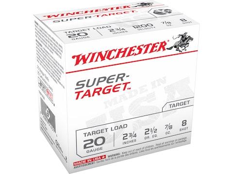 """Winchester Super-Target Ammunition 20 Gauge 2-3/4"""" 7/8 oz #8 Shot"""