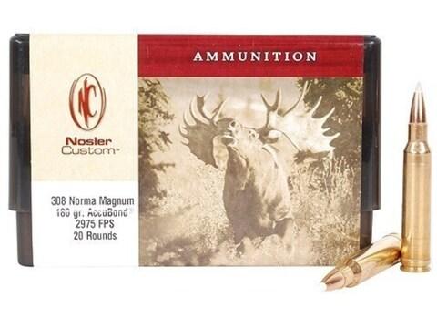 Nosler Custom Ammunition 308 Norma Magnum 180 Grain AccuBond Spitzer Box of 20