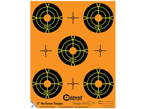 """Caldwell Orange Peel Targets 2"""" Self-Adhesive Bullseye (5 Bulls Per Sheet) Pack of 10"""