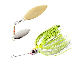 BOOYAH Blade Double Willow Spinnerbait 3/8oz Chartreuse White Shad Nickel/Gold