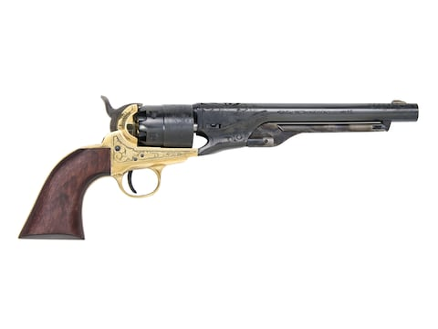 "Traditions 1860 Army Black Powder Revolver 44 Caliber 8"" Blued Barrel Engraved Brass Fr..."