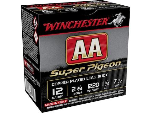 """Winchester AA Super Pigeon Ammunition 12 Gauge 2-3/4"""" 1-1/4 oz #7-1/2 Shot"""