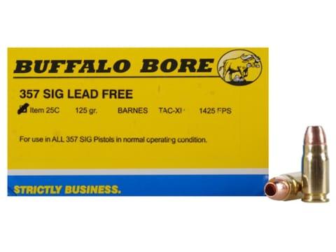 Buffalo Bore Ammunition 357 Sig 125 Grain Barnes TAC-XP Hollow Point Low Flash Lead-Fre...