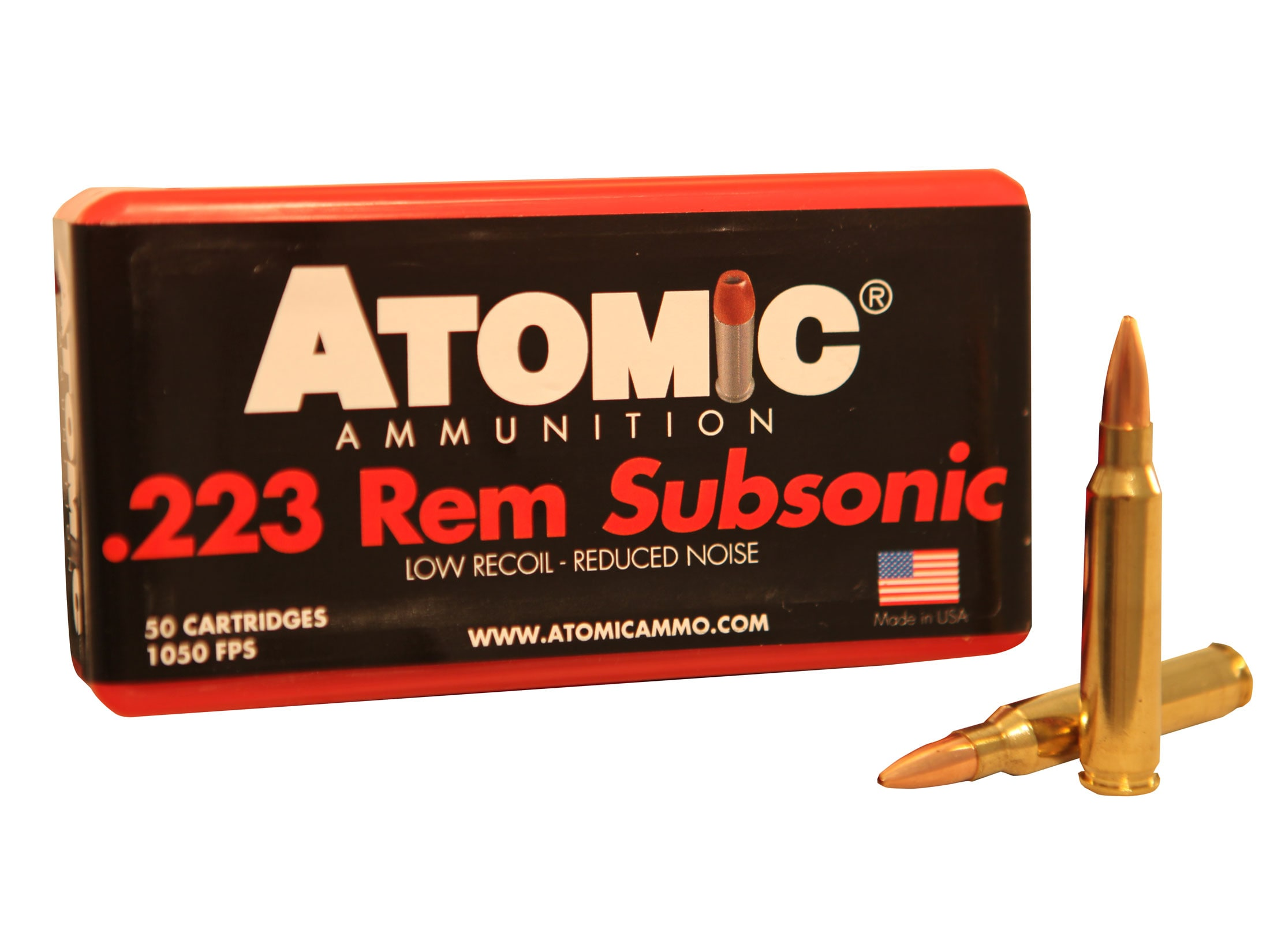 Atomic Ammo 223 Remington Subsonic 77 Grain Hollow Point Boat Tail Box