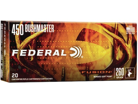 Federal Fusion Ammunition 450 Bushmaster 260 Grain Bonded Soft Point