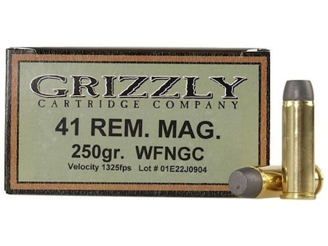 Grizzly Ammunition 41 Remington Magnum 250 Grain Cast Performance Lead Wide Flat Nose G...