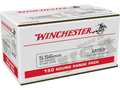 Winchester USA Ammunition 5.56x45mm NATO 55 Grain M193 Full Metal Jacket Value Pack