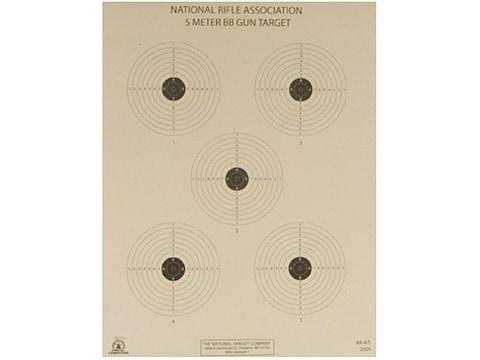 NRA Official Air Rifle Targets AR-4/5 5 Meter BB Gun Paper Pack of 100