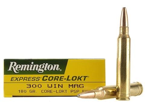 Remington Express Ammunition 300 Winchester Magnum 180 Grain Core-Lokt Pointed Soft Poi...