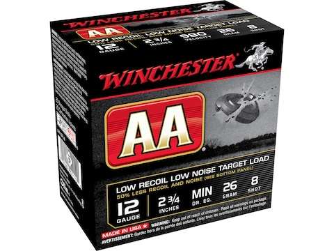 "Winchester AA Low Recoil Target Ammunition 12 Gauge 2-3/4"" 7/8 oz #8 Shot"