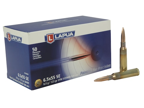 Lapua Scenar Ammunition 6.5x55mm Swedish Mauser 123 Grain Point Boat Tail Hollow High V...