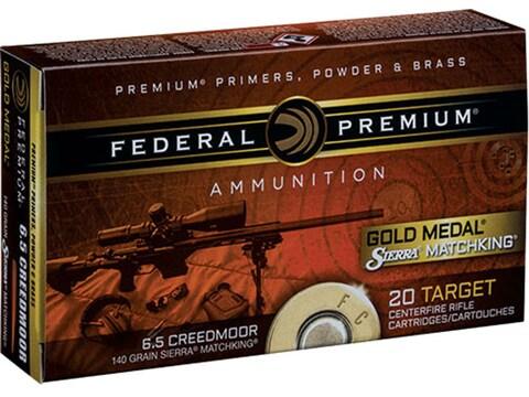 Federal Premium Gold Medal Ammunition 6.5 Creedmoor 140 Grain Sierra MatchKing Boat Tai...