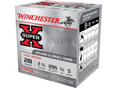 """Winchester Super-X High Brass Ammunition 28 Gauge 2-3/4"""" 3/4 oz #5 Shot"""