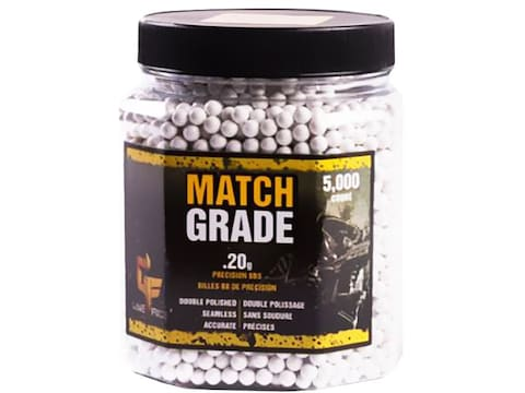 Game Face Match Grade 6mm Airsoft BB .20 Gram White Pack of 5,000