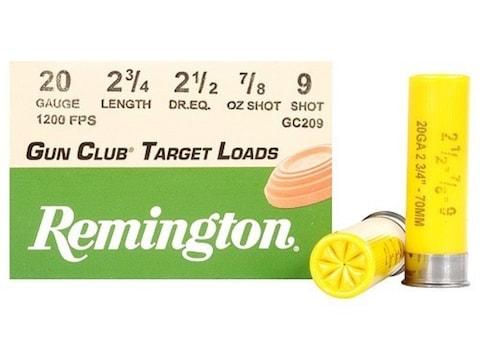 """Remington Gun Club Target Ammunition 20 Gauge 2-3/4"""" 7/8 oz #9 Shot Box of 25"""