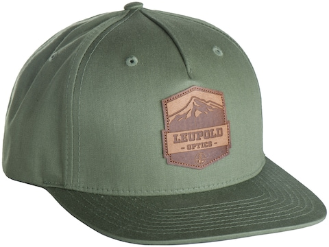 Leupold Mountain Leather Patch Snap Back Trucker Cap Army Olive