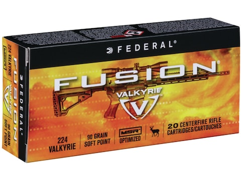 Federal Fusion MSR Ammunition 224 Valkyrie 90 Grain Bonded Spitzer Boat Tail