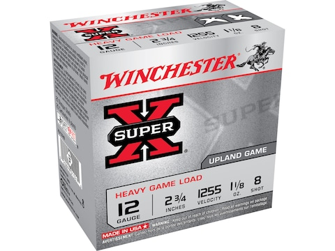 "Winchester Super-X Heavy Game Load Ammunition 12 Gauge 2-3/4"" 1-1/8 oz #8 Shot Box of 25"