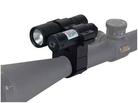"""BSA Red Laser Sight and Flashlight Kit with 1"""" Rifle Scope Ring-Mount Matte"""