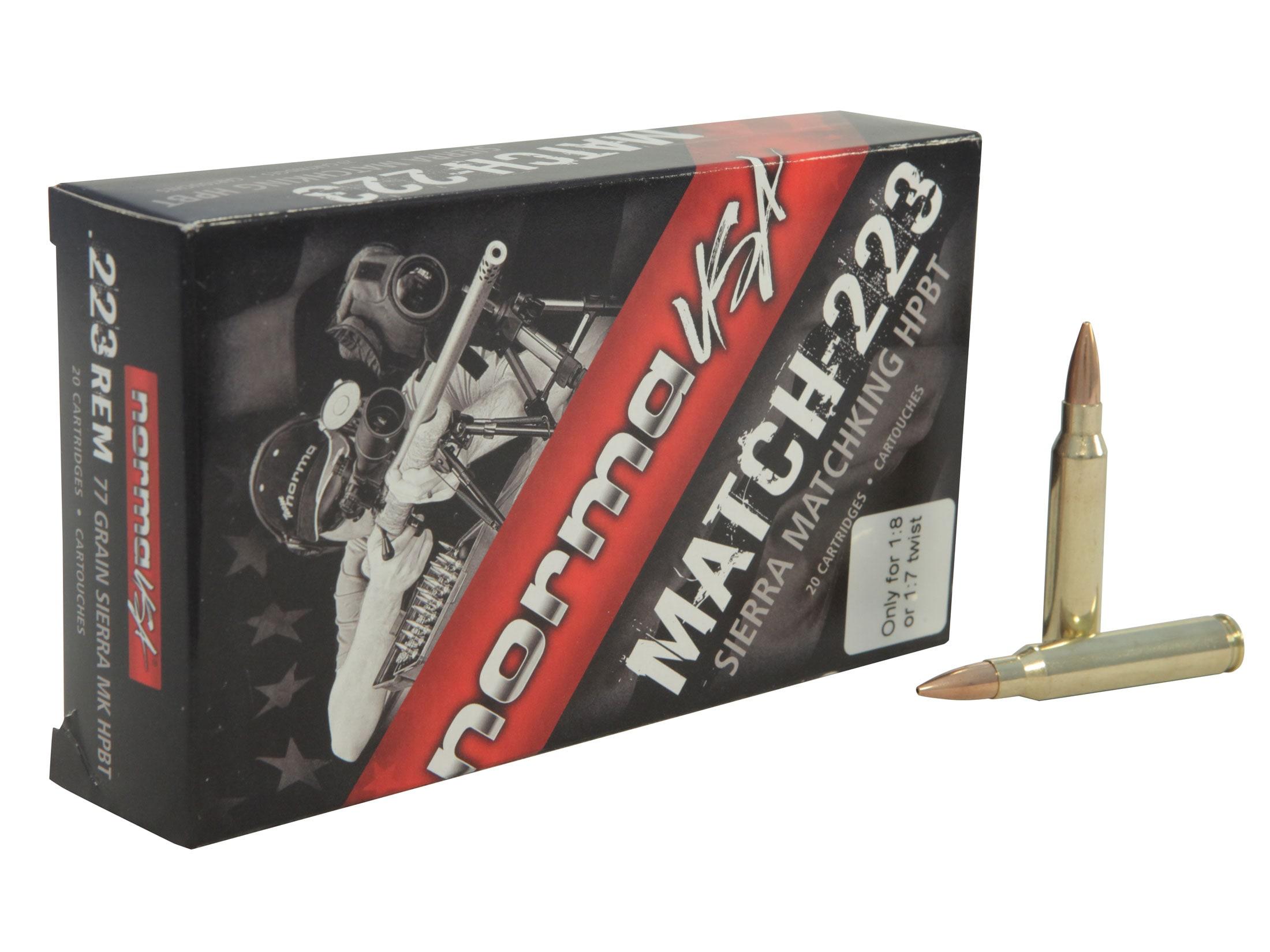 Norma Match Ammo 223 Remington 77 Grain Sierra MatchKing Hollow Point