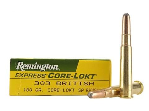 Remington Express Ammunition 303 British 180 Grain Core-Lokt Soft Point Box of 20