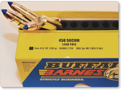 Buffalo Bore Ammunition 458 SOCOM 300 Grain Barnes TTSX Polymer Tipped Spitzer Lead-Fre...