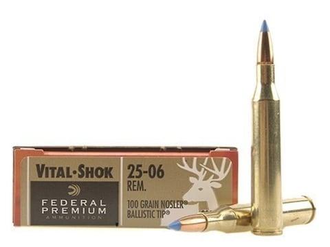 Federal Premium Ammunition 25-06 Remington 100 Grain Nosler Ballistic Tip Box of 20