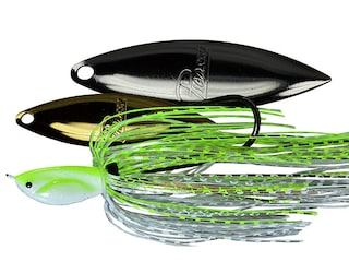 Picasso Super Strong Inviz Wire Double Willow Spinnerbait 1/4oz Chartreuse/White Chrome Gold/Nickel