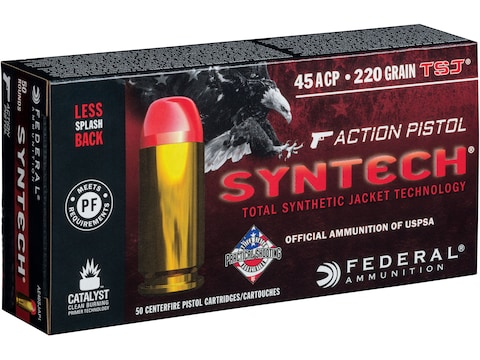 Federal Syntech Action Pistol Ammunition 45 ACP 220 Grain Total Synthetic Jacket