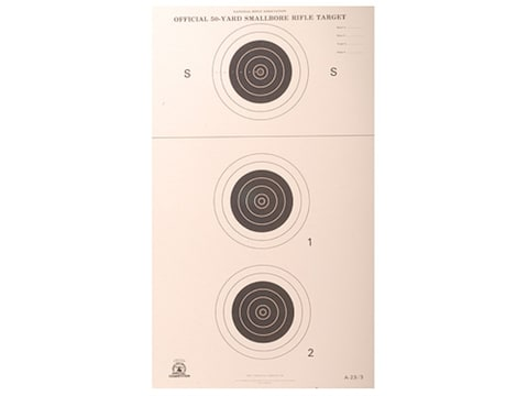 NRA Official Smallbore Rifle Targets A-23/3 50-Yard Paper Package of 100