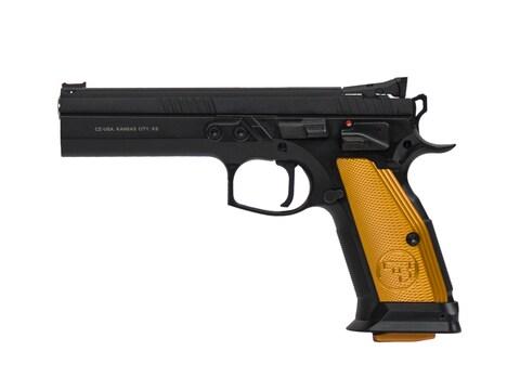 """CZ-USA CZ 75 Tactical Sport Orange 9mm Luger 5.23"""" Barrel Black Slide Orange Grips 20-R..."""