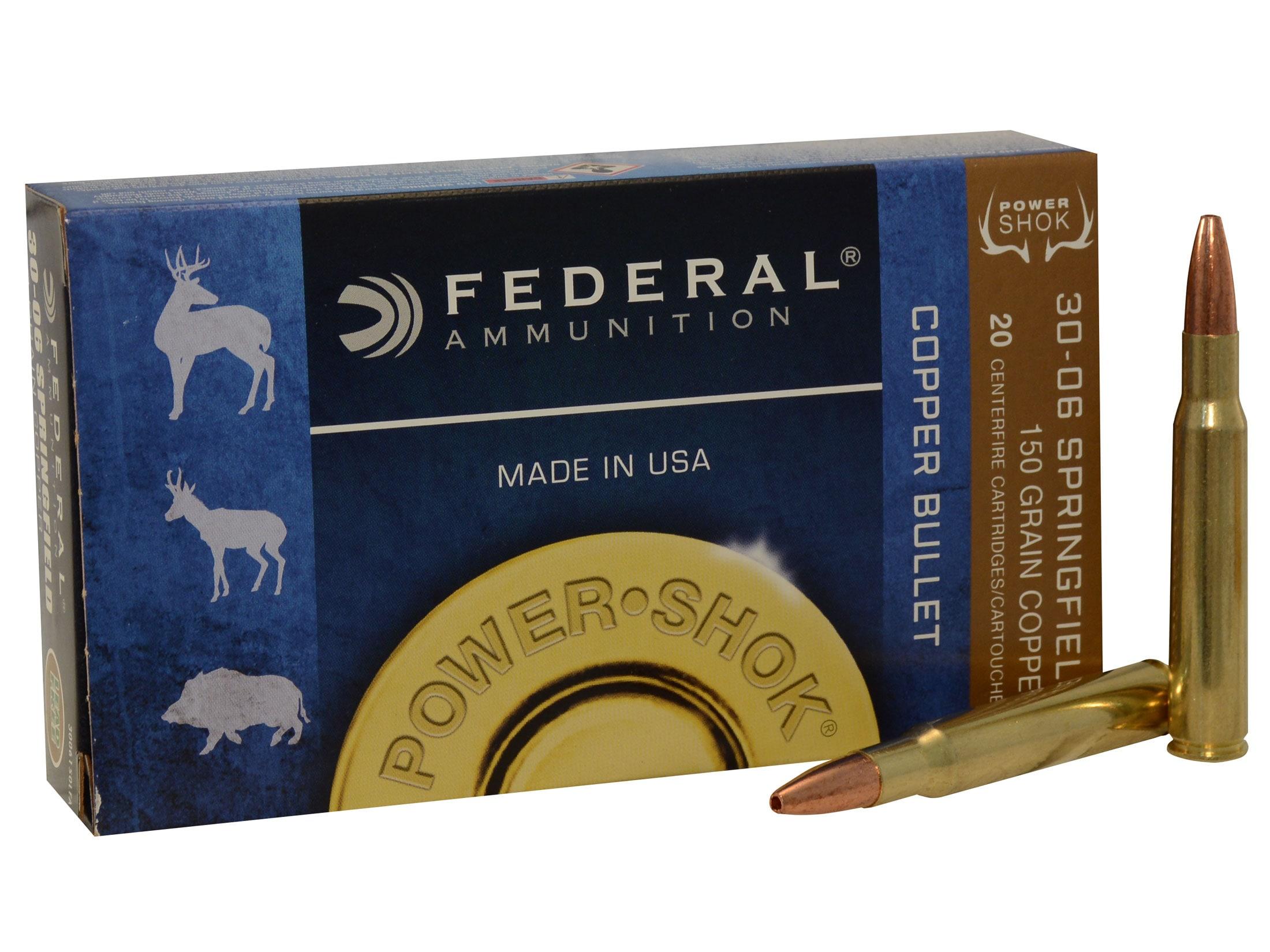 Federal Power-Shok Ammo 30-06 Springfield 150 Grain Copper Hollow