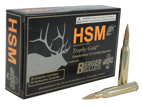 HSM Trophy Gold Ammunition 25-06 Remington 115 Grain Berger Hunting VLD Hollow Point Bo...