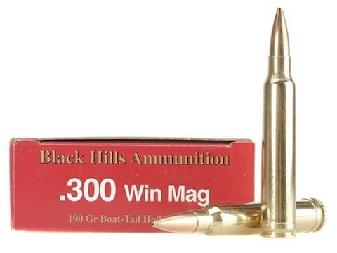 Black Hills Ammunition 300 Winchester Magnum 190 Grain Match Hollow Point Boat Tail Box...