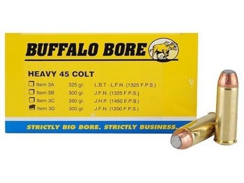 Buffalo Bore Ammunition 45 Colt (Long Colt) +P 300 Grain Jacketed Flat Nose Box of 50
