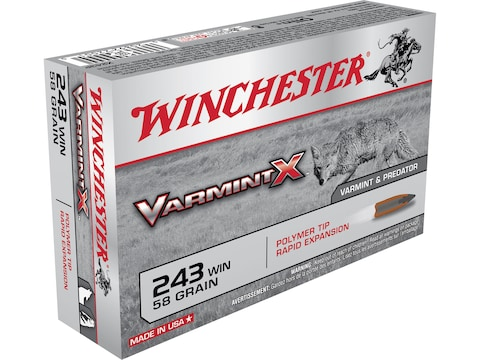Winchester Varmint X Ammunition 243 Winchester 58 Grain Polymer Tip