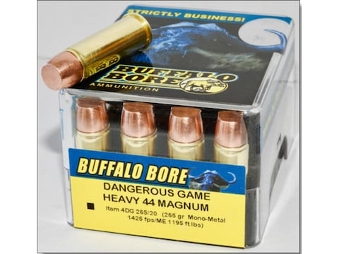 Buffalo Bore Dangerous Game Ammunition 44 Remington Magnum 265 Grain Lehigh Mono-Metal ...