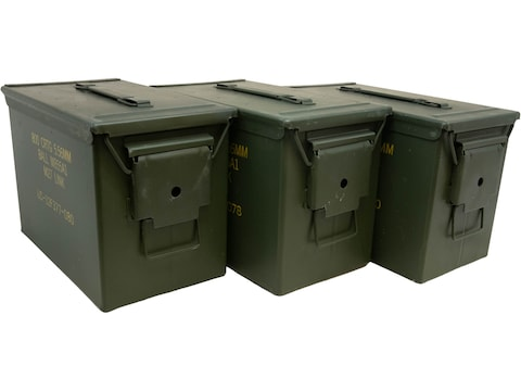 Military Surplus Fat 50 Ammo Can 50 Caliber 3-Pack