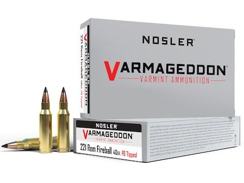 Nosler Varmageddon Ammunition 221 Remington Fireball 40 Grain Polymer Tip Flat Base Box...