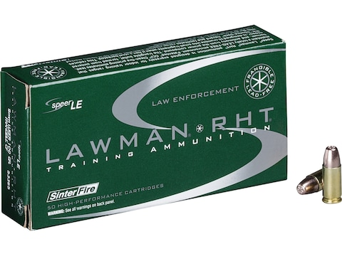 Speer Lawman RHT Ammunition 9mm Luger 100 Grain Frangible Flat Point Lead-Free Case of ...