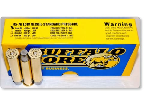 Buffalo Bore Ammunition 45-70 Government 430 Grain Hard Cast Lead Long Flat Nose Low Re...