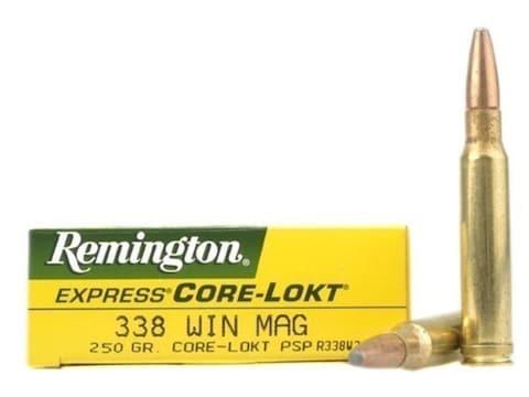 Remington Core-Lokt Ammunition 338 Winchester Magnum 250 Grain Pointed Soft Point Core-...