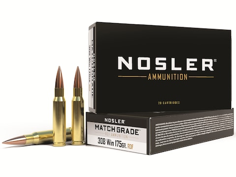 Nosler Match Grade Ammunition 308 Winchester 175 Grain RDF Hollow Point Boat Tail Box o...